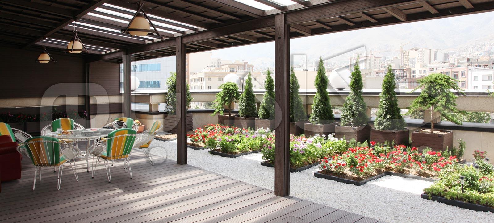 green roof garden banner iran tehran