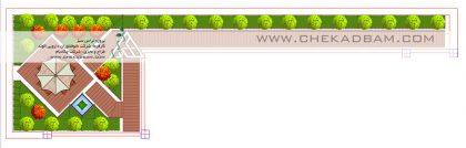 پلان تراس دو بعدی فضای سبز بالکن طراحی فضای سبز