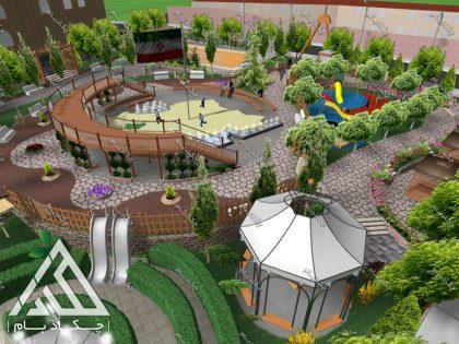 طراحی سه بعدی محوطه سازی پارک دانش آموز بانه کردستان 3d design landscape iran