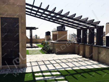 نمونه روف گاردن لوکس در فرمانیه تهران اجرای بهترین بام سبز