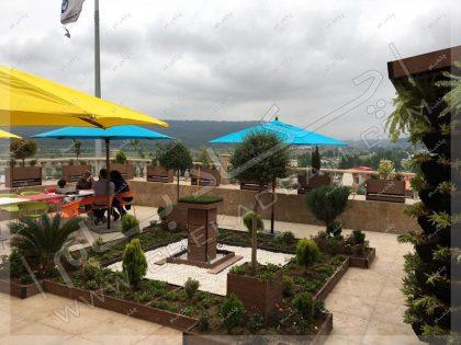 تراس سبز طراحی فضای سبز تراس آلاچیق و آبنما و گلدان در تراس