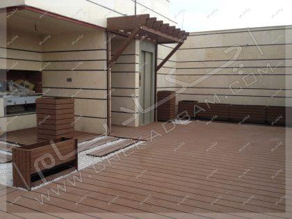 روف گاردن کرمان پروژه پشت بام سبز در کرمان کف چوب پلاستیک دکینگ چوبی
