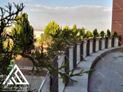 فلاورباکس لبه تراس سبز تالار صدر خیابان شریعتی تهران گیاهان لبه نمای تراس