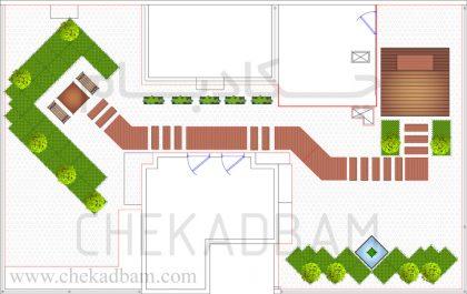 نقشه دو بعدی پلان اتوکد طراحی روف گاردن 2D plan of green roof