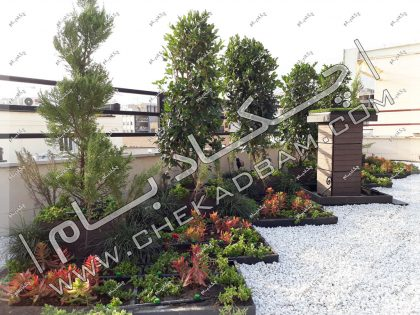 باغچه روی پشت بام پروژه روف گاردن تهران قلندری
