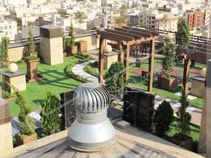 فضای سبز و استراحت روی پشت بام پروژه روف گاردن قیطریه تهران