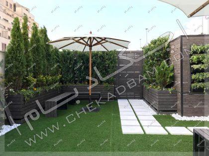 روف گاردن ساختمان بانک تجارتی ایران و اروپا سعادت آباد تهران چمن مصنوعی و درخت و درختچه و گیاه روی پشت بام eihbank roof garden