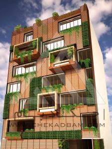 نمای سبز دیوار سبز نمای چوب پلاست