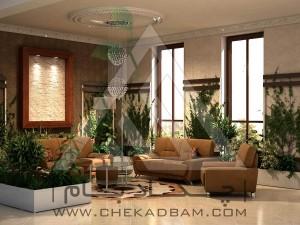 معماری داخلی سبز لابی فلاورباکس پشتبند دار