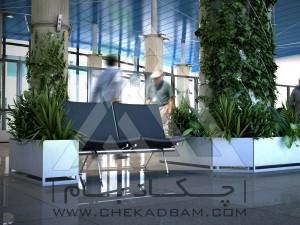معماری داخلی سبز فرودگاه امام فلاورباکس
