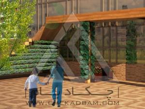 دیوار سبز مدولار نمای چوب پلاست تری باکس فلاورباکس