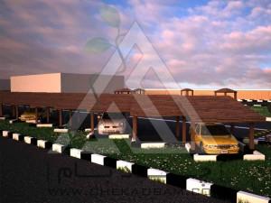 سقف پارکینگ پرگولا چوب پلاست فلاورباکس تری باکس