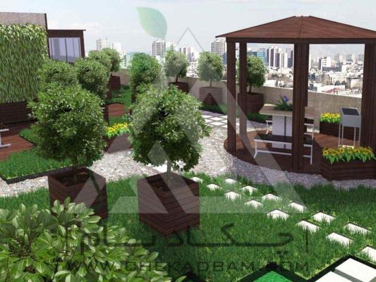 نمونه طراحی سه بعدی روف گاردن green roof 3d design
