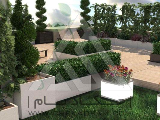 روف گاردن بام سبز دیوار سبز فلاورباکس گلدان آلاچیق