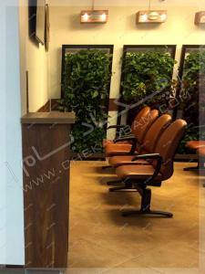 معماری داخلی سبز مطب طراحی دیوار سبز فضای داخلی پارتیشن های گیاه رونده سبز صندلی های انتظار
