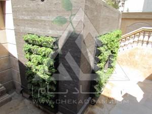 پوشش تاسیسات برق با دیوار سبز گرین وال مدولار فرمانیه تهران ایران چوب پلاست گل ناز فرانسوی چهار فصل