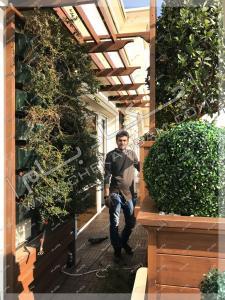 دیوار سبز پرگولای چوبی و فلاورباکس تراس سبز نیاوران