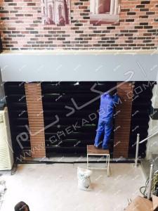 زیر سازی و آماده سازی دیوار فضای داخلی برای اجرای دیوار سبز زنده و ترکیب با چوب گرین وال زنده