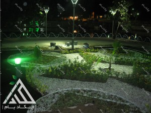 نمایش شب پروژه محوطه سازی پارک سراب کوثر قروه کردستان ایران محوطه آرایی