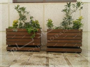 فلاورباکس های شاسی دار با سینی چکادبام  محوطه سازی حیاط بیمارستان روزبه تهران کارگر جنوبی