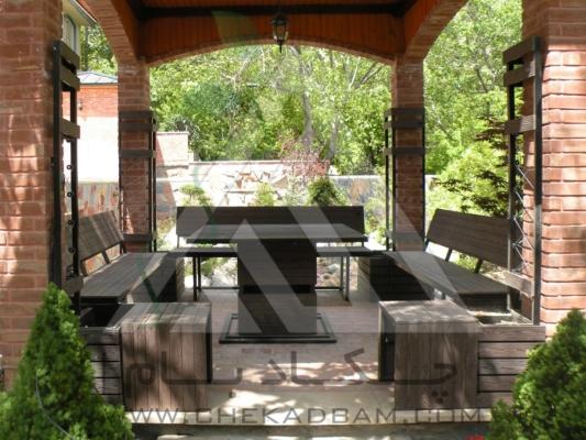 محوطه آرایی میز و نیمکت ویلا رودهن