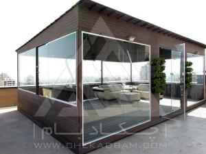 اجرای آتریوم شیشه ای آلاچیق چوب پلاست روف گاردن بام سبز  شیشه ریلی آکاردئونی