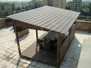 دید پرنده از آتریوم اجرا شده روی پشت بام و نمای سقف و جزئیات آتریوم