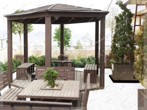 آلاچیق چوبی فلزی و میز و نیمکت چوبی روی پشت بام