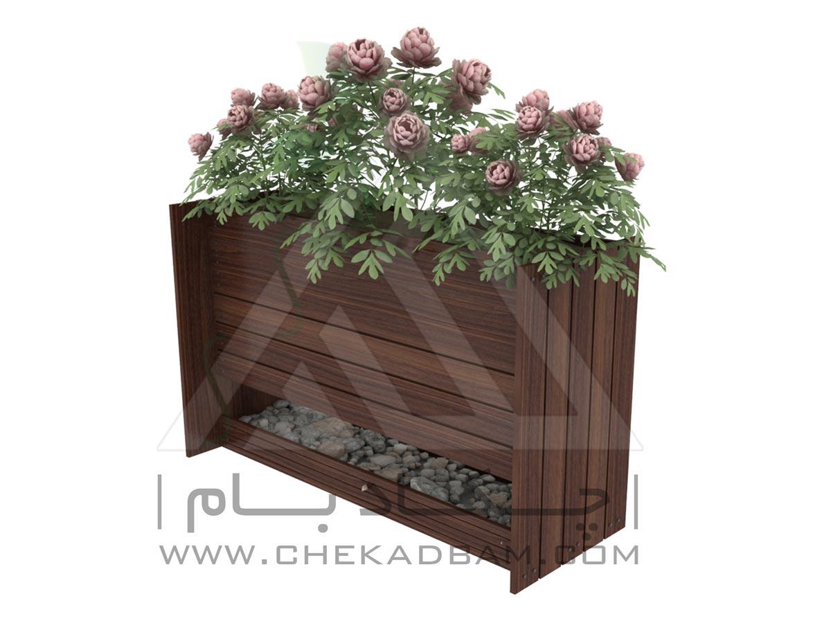 فلاورباکس گلدان جفت سینی چکادبام با متریال ورق گالوانیزه و چوب پلاست flowerbox chekadbam