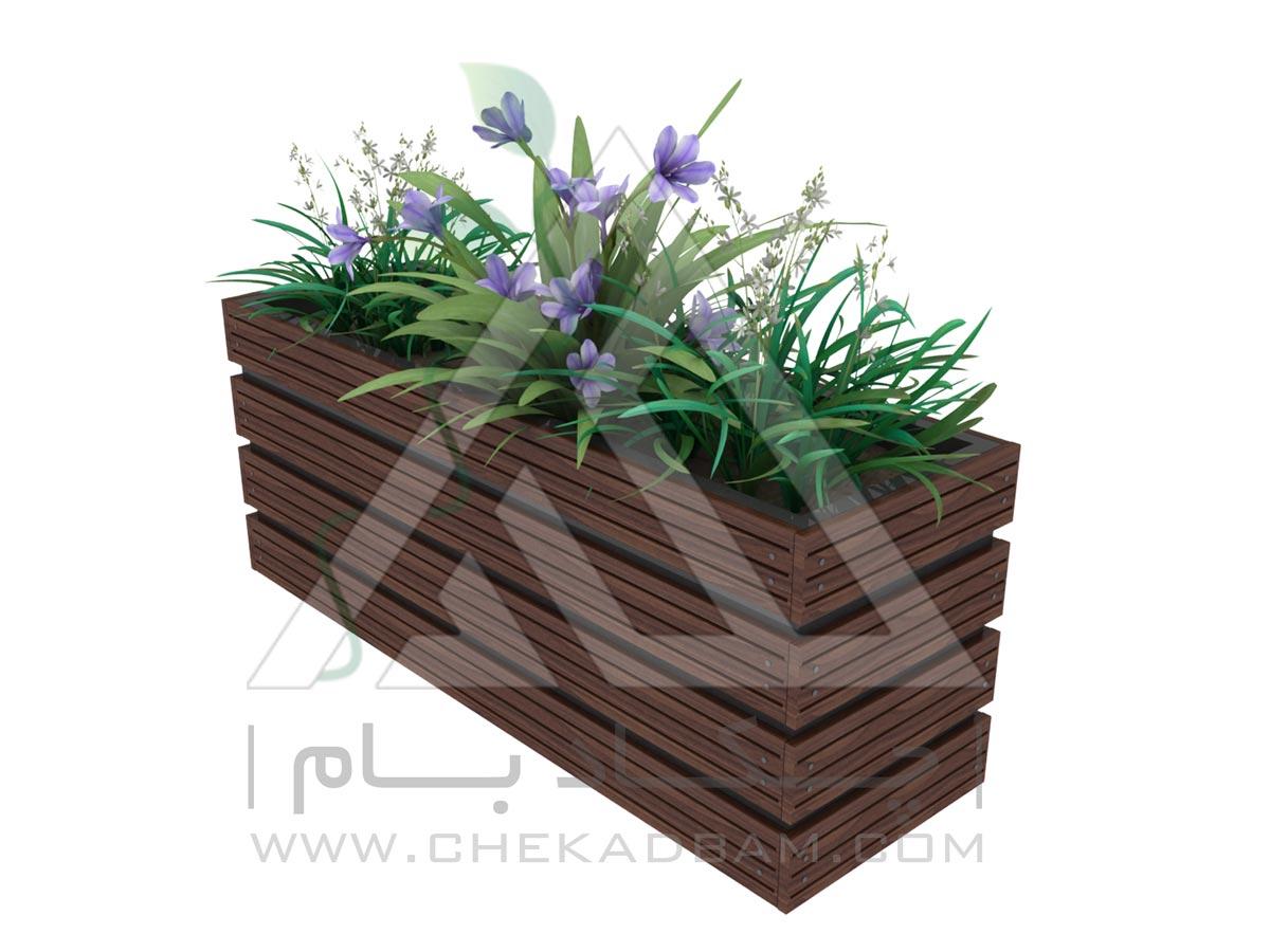 فلاورباکس گلدان تک سینی چکادبام با متریال ورق گالوانیزه و چوب پلاست flowerbox chekadbam