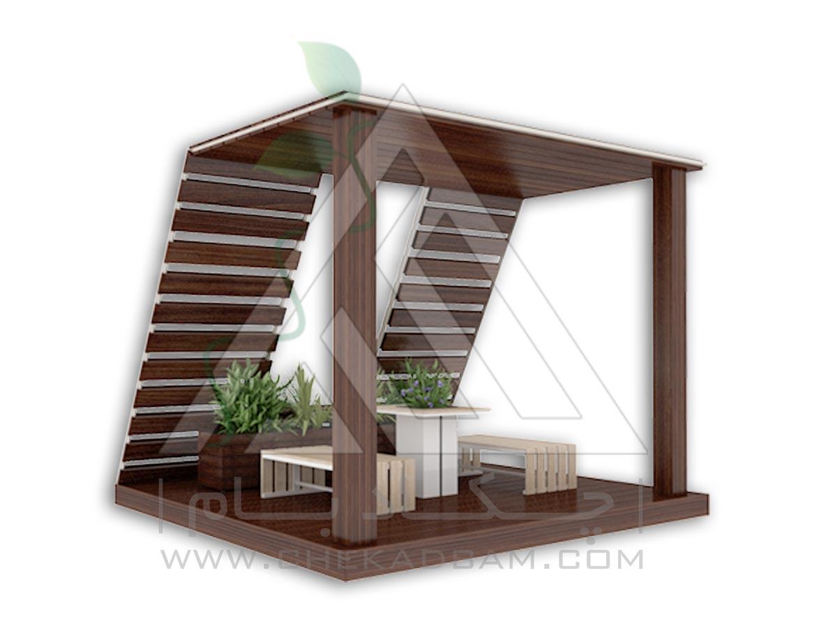 آلاچیق مدرن چوبی و فلزی چکادبام طرح پنجره آسمان modern wood plastic metal gazebo