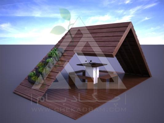 آلاچیق مدرن چوب پلاست طرح هشت بهشت تیپ 3