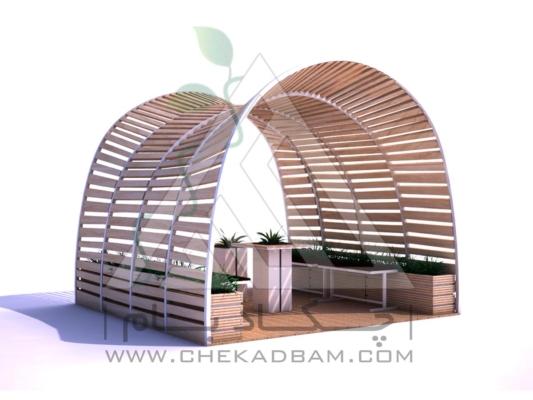 آلاچیق مدرن چوب پلاست طرح چنگ