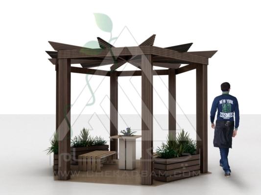 آلاچیق مدرن چوب پلاست طرح کندو