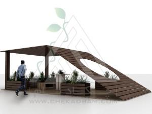 آلاچیق مدرن چوب پلاست طرح خورشید