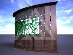 آلاچیق مدرن چوب پلاست طرح کنج تیپ 2