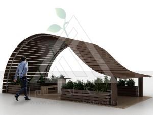آلاچیق مدرن چوب پلاست طرح موج