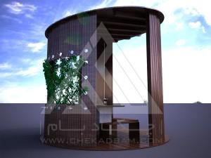 آلاچیق مدرن چوب پلاست طرح استوانه تیپ 2