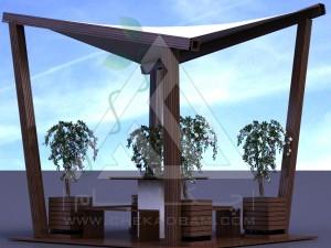 آلاچیق مدرن چوب پلاست طرح پرواز