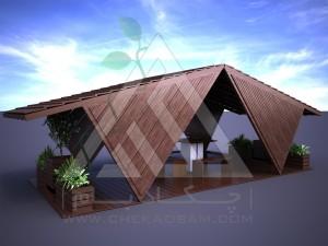 آلاچیق مدرن چوب پلاست طرح قشقایی تیپ 1