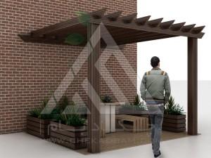 آلاچیق مدرن چوب پلاست طرح پرگولا