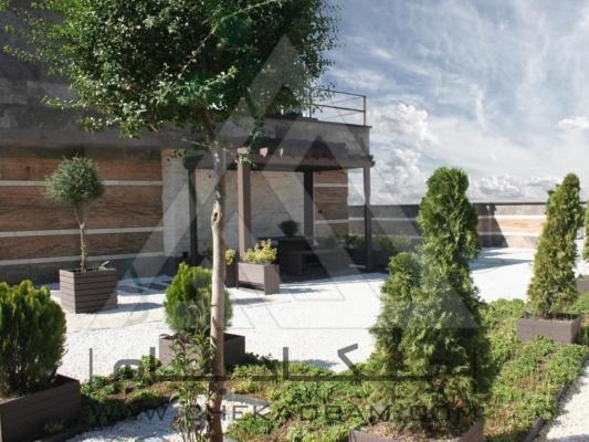 نمای بام سبز دیباجی جنوبی پرگولا فلاورباکس