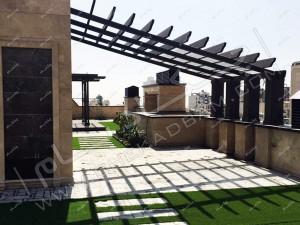 اجرای پرگولا و چمن مصنوعی بر روی پشت بام روف گاردن فرمانیه