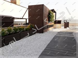 نمای روف گاردن آلاچیق روی پشت بام خیابان قلندری جنوبی تهران