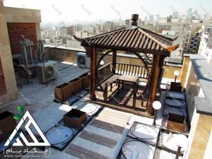 پایان پروژه روف گاردن تهران قیطریه طراحی فضای سبز پشت بام چکاد