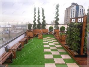 نمای روف گاردن جردن تهران چمن مصنوعی فلاورباکس چوبی ترمووود دیوار سبز پرتابل