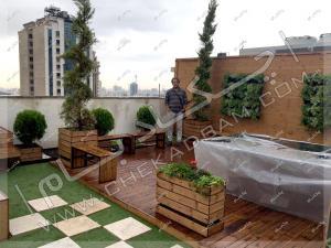 نمای روف گاردن جردن تهران چمن مصنوعی فلاورباکس چوبی ترمووود دیوار سبز مدولار