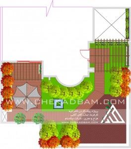 پلان دو بعدی طراحی روف گاردن بام سبز تهران ایران کامرانیه