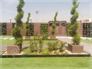 چمن مصنوعی و فلاورباکس و درخت و درختچه در رستوران بام