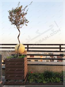 فلاورباکس چوبی مناسب برای کاشت درخت و درختچه روی پشت بام